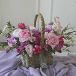 [부산당일꽃배달]핑크자주러블리꽃바구니 6호(화이트데이추…