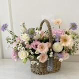 [사계절꽃바구니]핑크화이트 보라터치꽃바구니10호